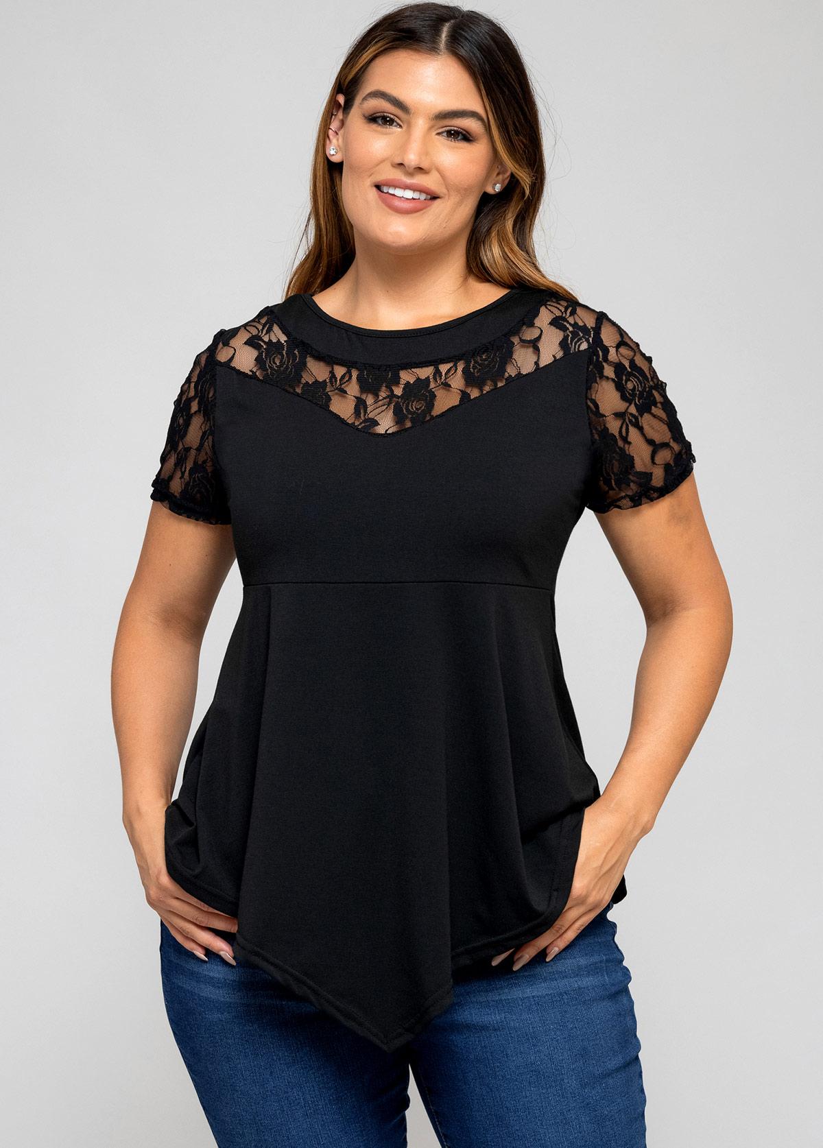 Lace Stitching Asymmetric Hem Plus Size T Shirt