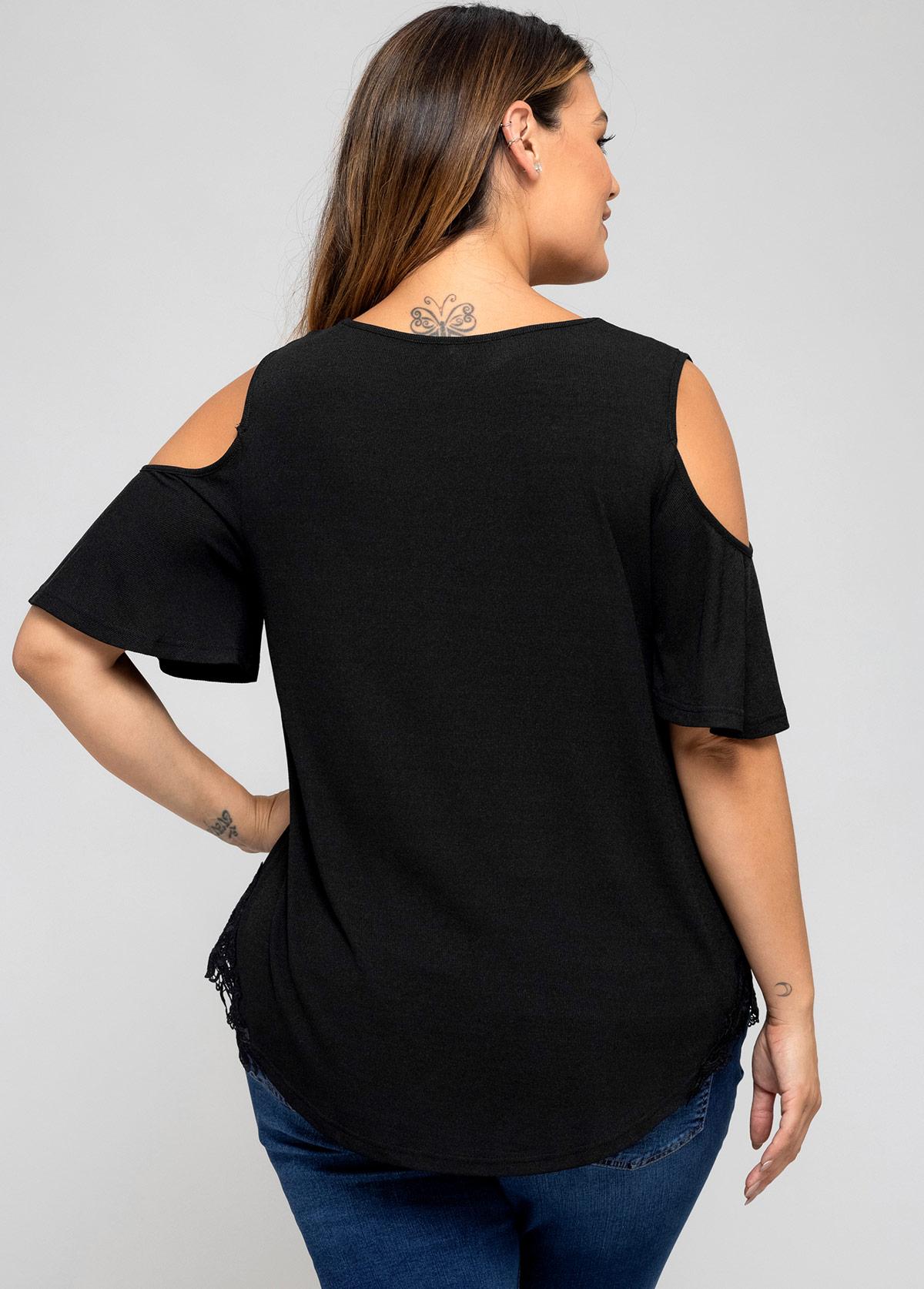 Plus Size Lace Stitching Cold Shoulder T Shirt