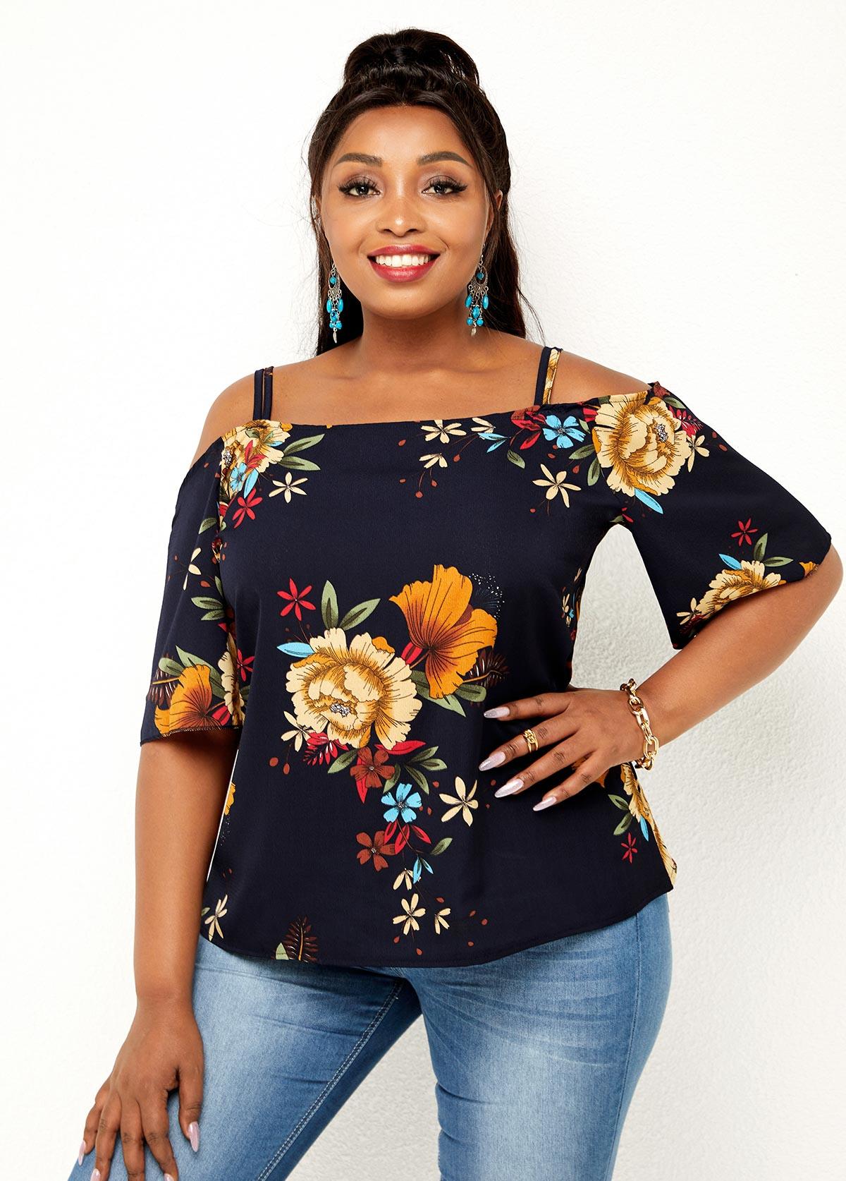 Floral Print Cold Shoulder Plus Size T Shirt