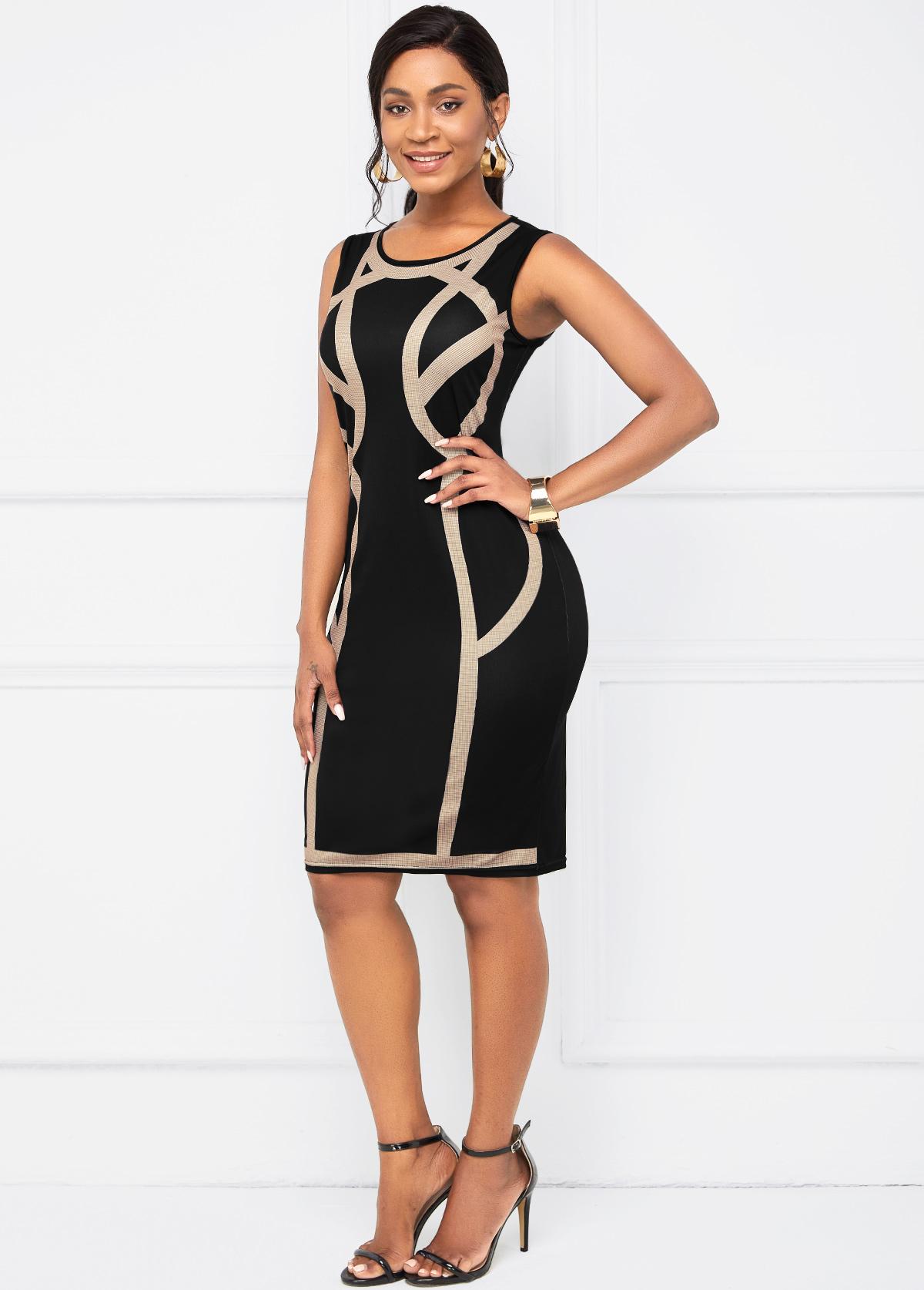 Round Neck Contrast Sleeveless Bodycon Dress