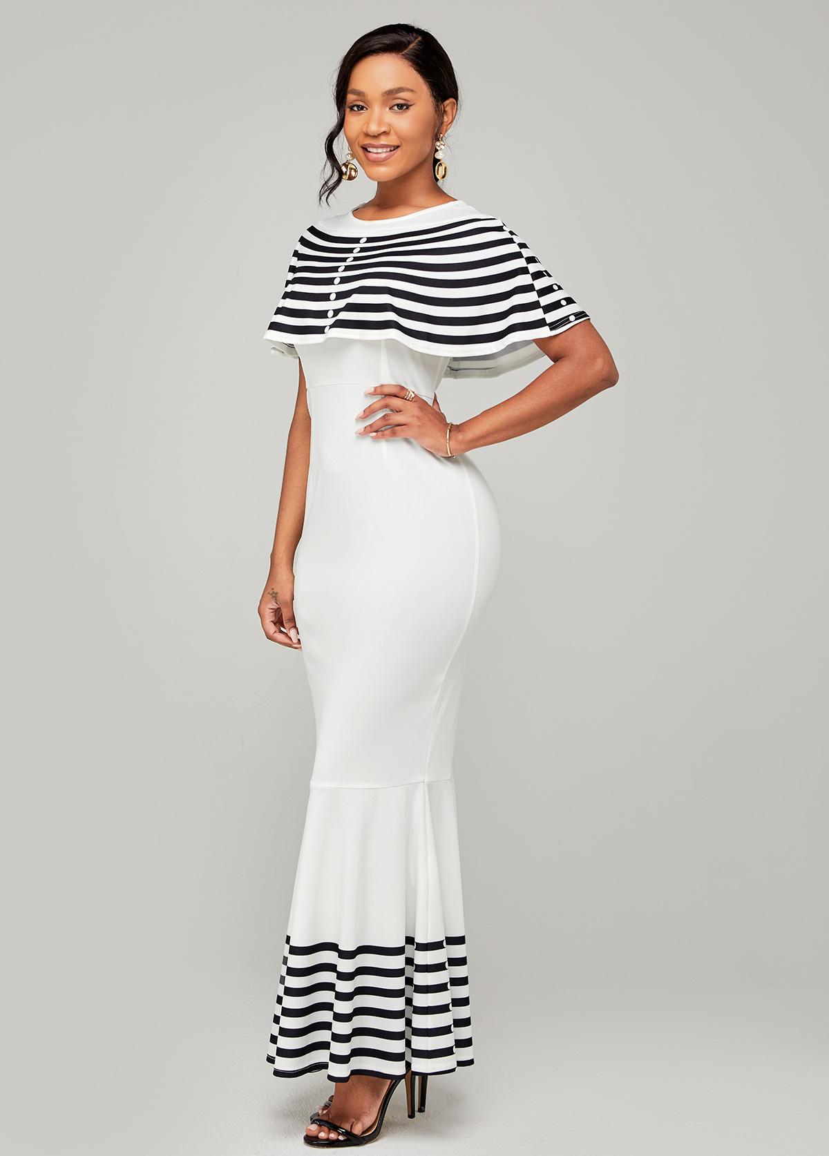 Cape Sleeve Round Neck Striped Mermaid Dress