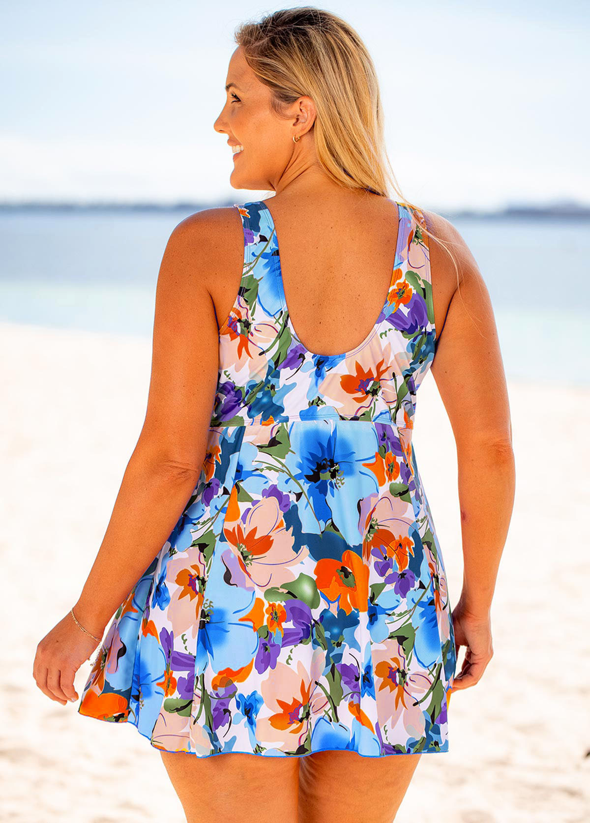 Floral Print Bowknot Detail Plus Size Swimdress and Shorts