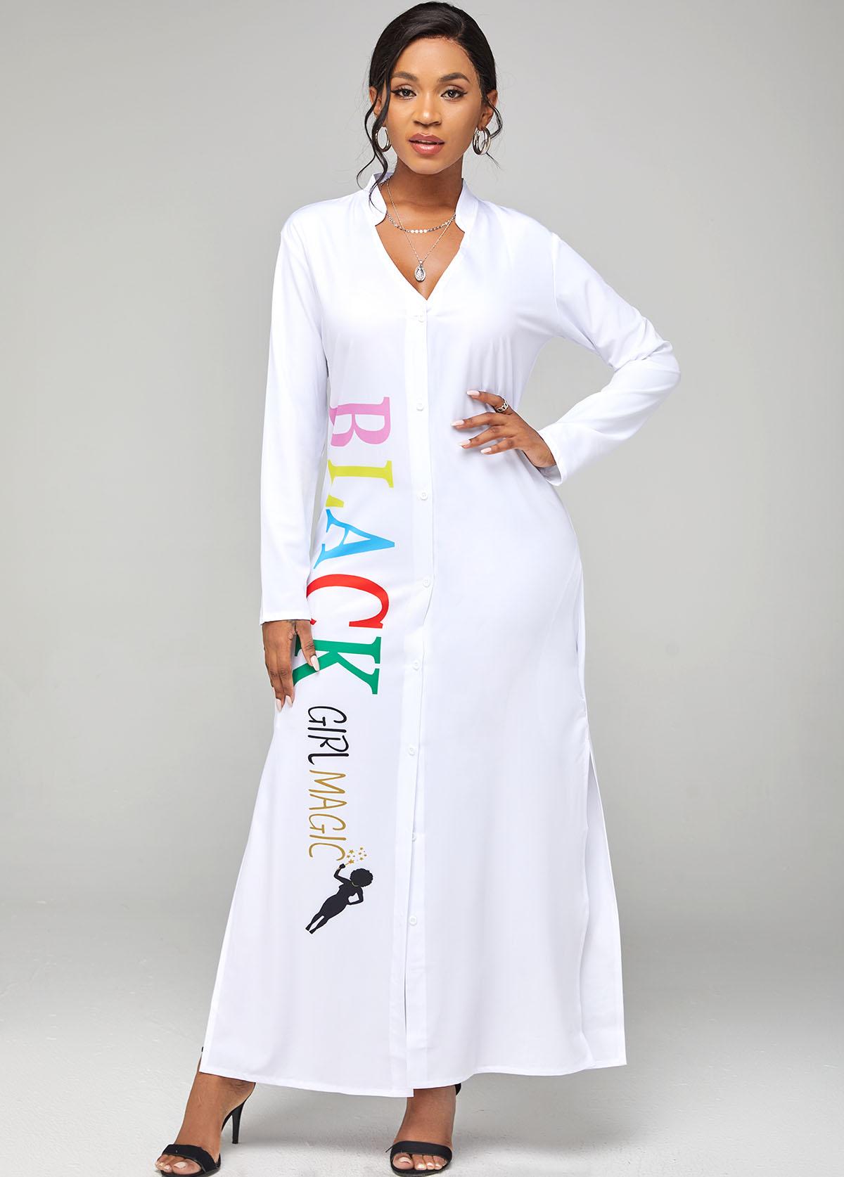 Long Sleeve Letter Print Side Slit Dress