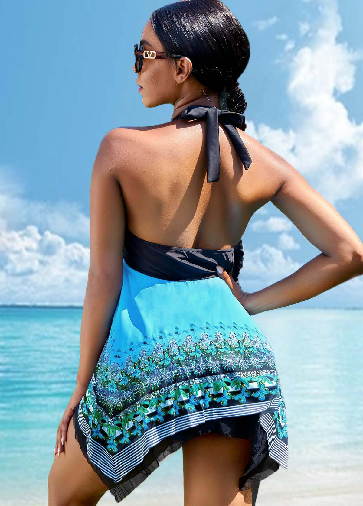 Asymmetric Hem Butterfly and Tribal Print Tie Swimdress and Shorts