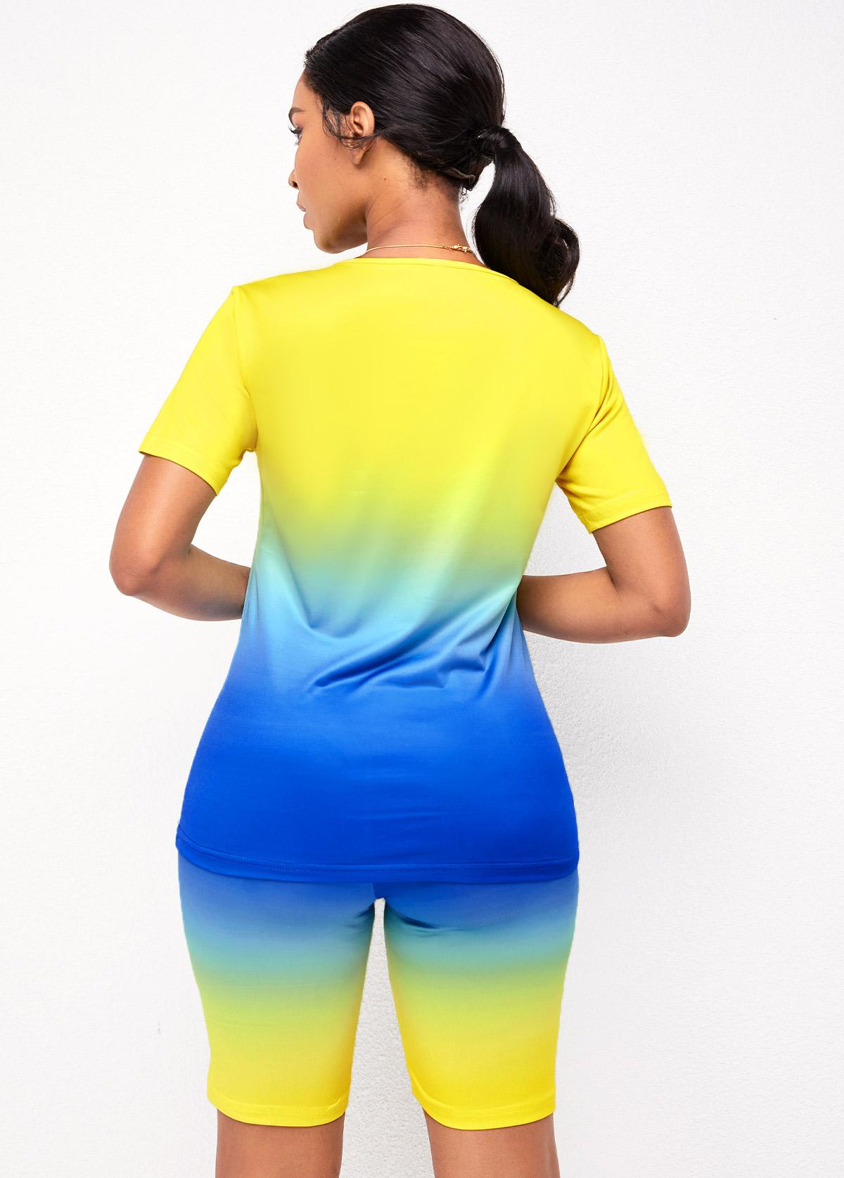 Tie Dye Print Short Sleeve Ombre Sweatsuit