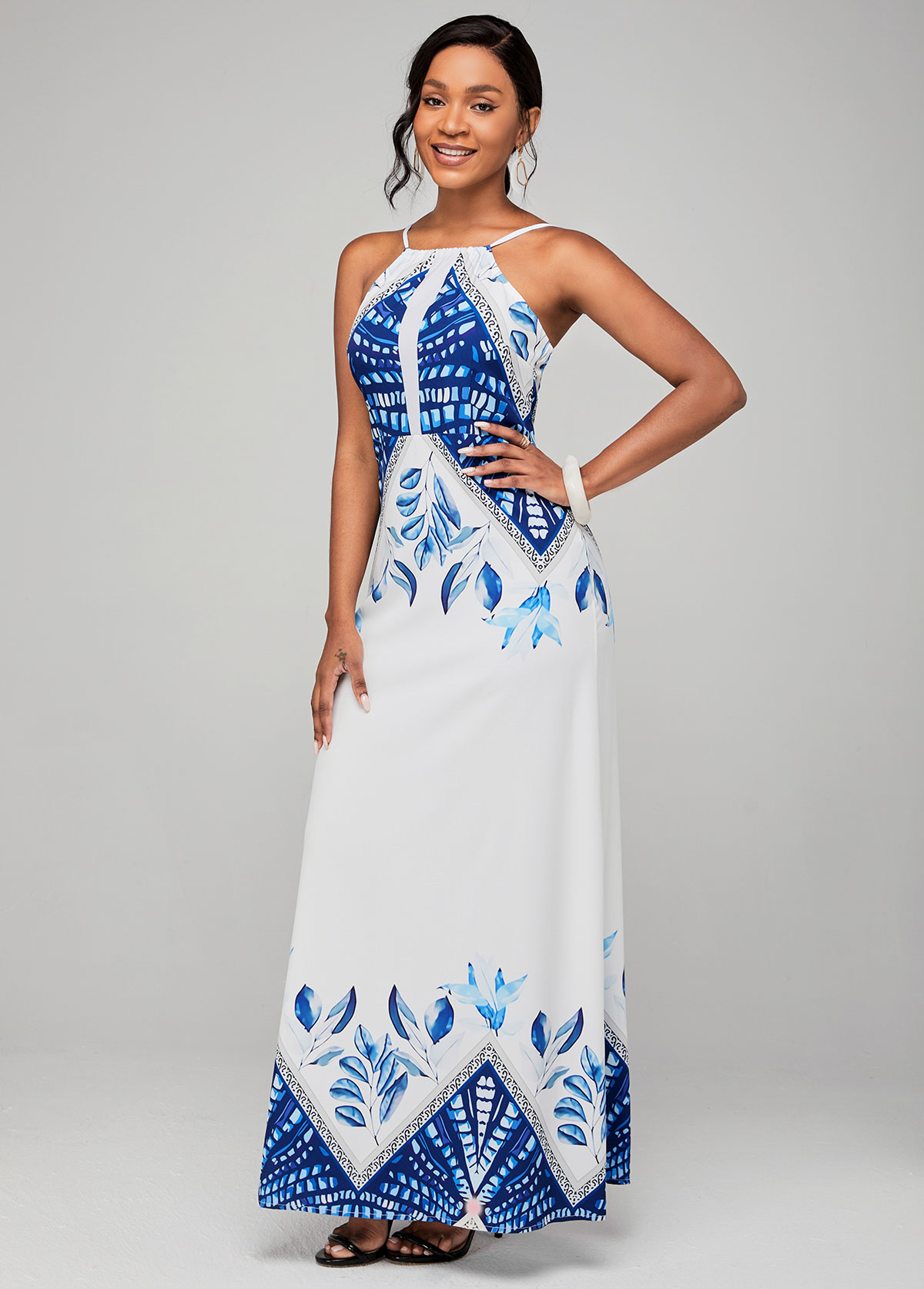 High Waist Tribal Print Spaghetti Strap Dress