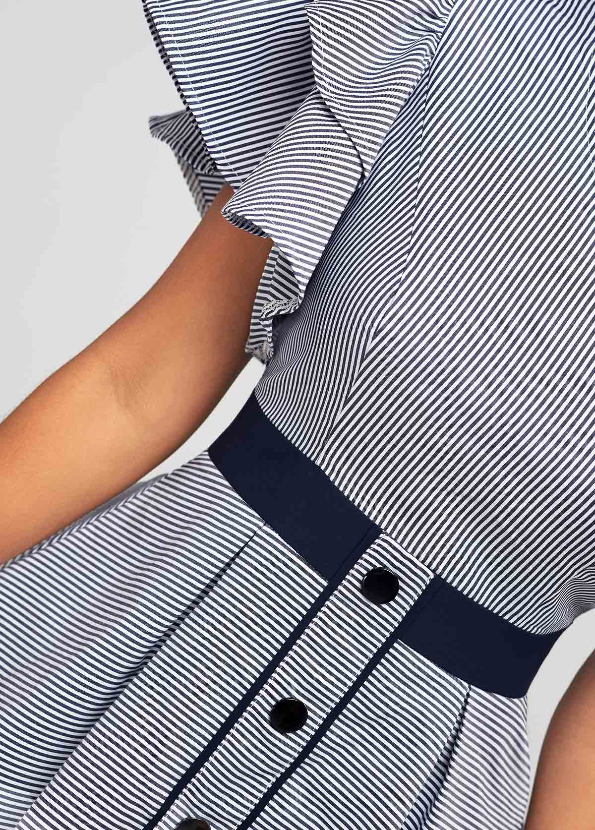 Decorative Button Skew Neck One Sleeve Striped Blouse