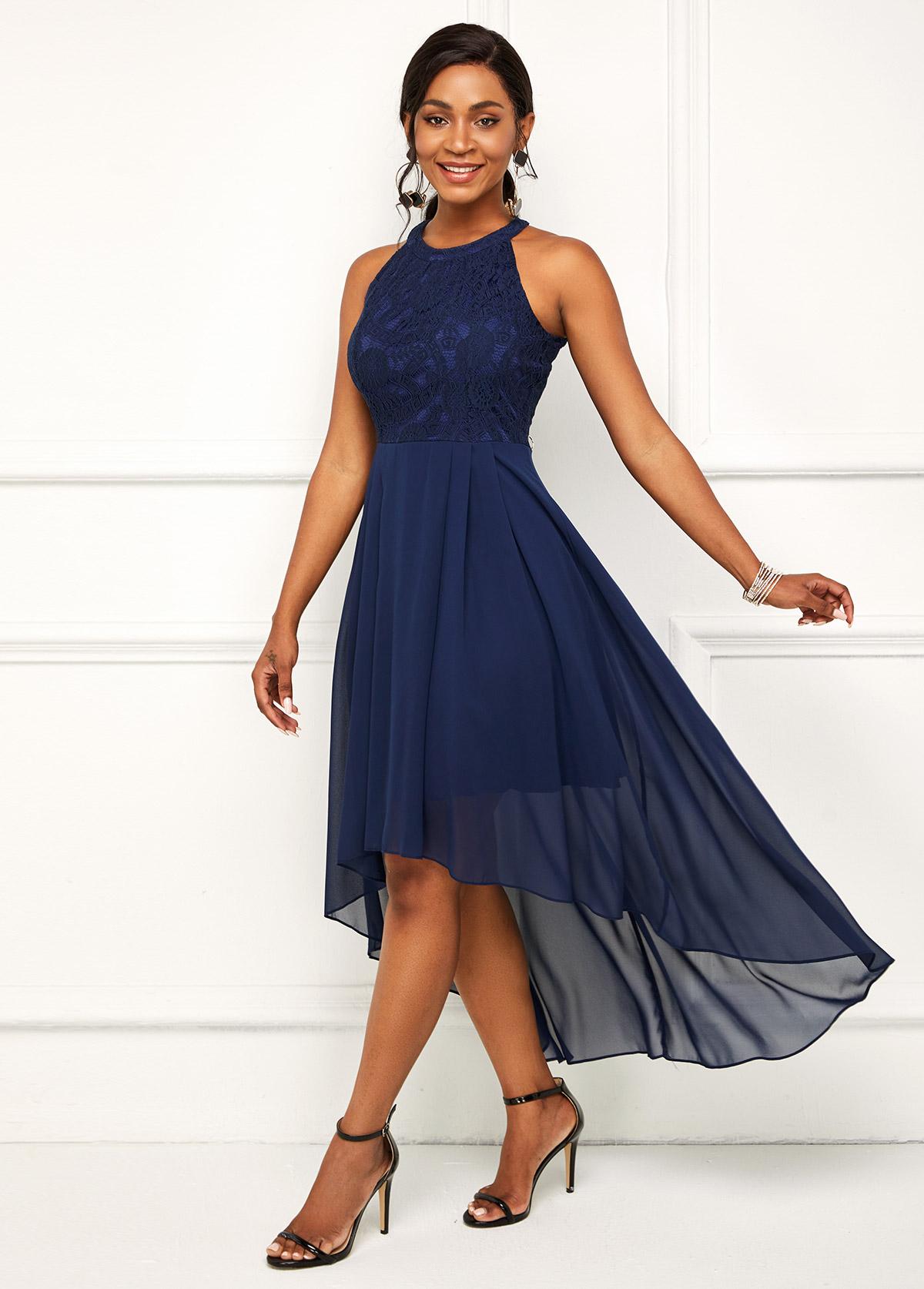 Lace Stitching Bib Neck Asymmetric Hem Dress