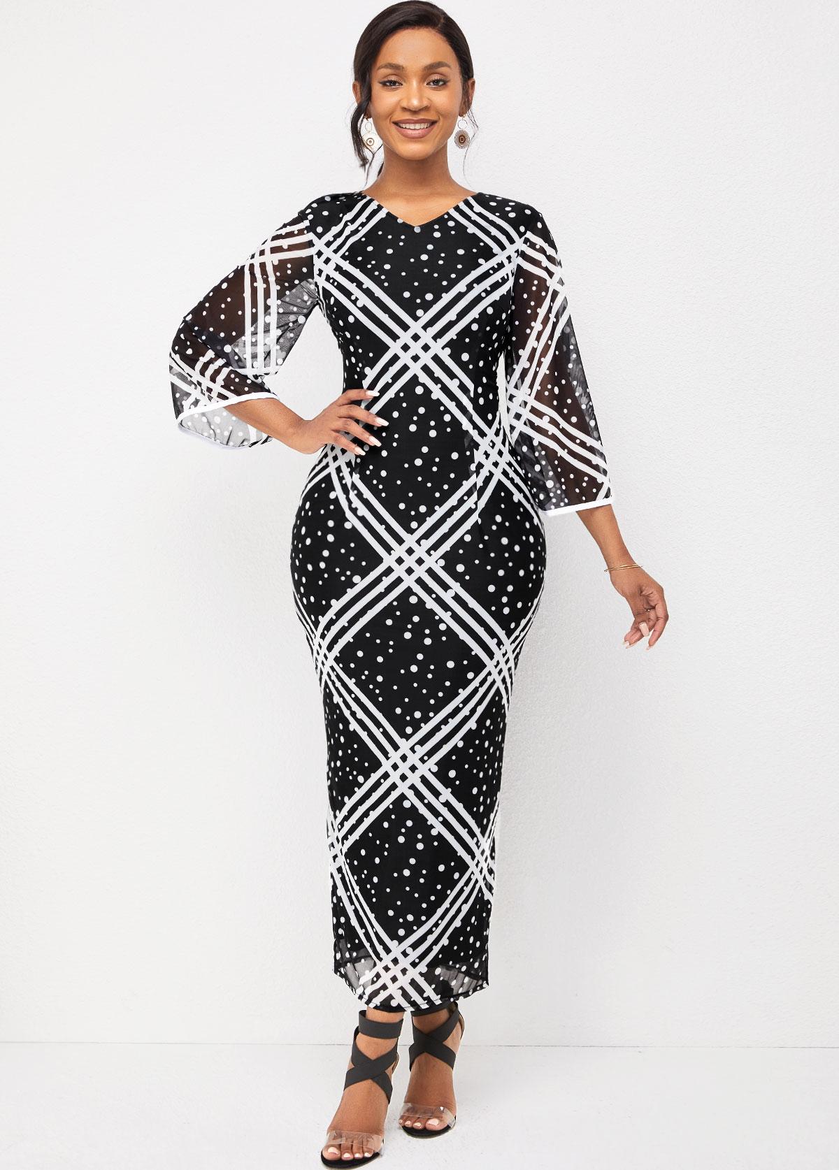 Flare Sleeve V Neck Striped and Polka Dot Dress