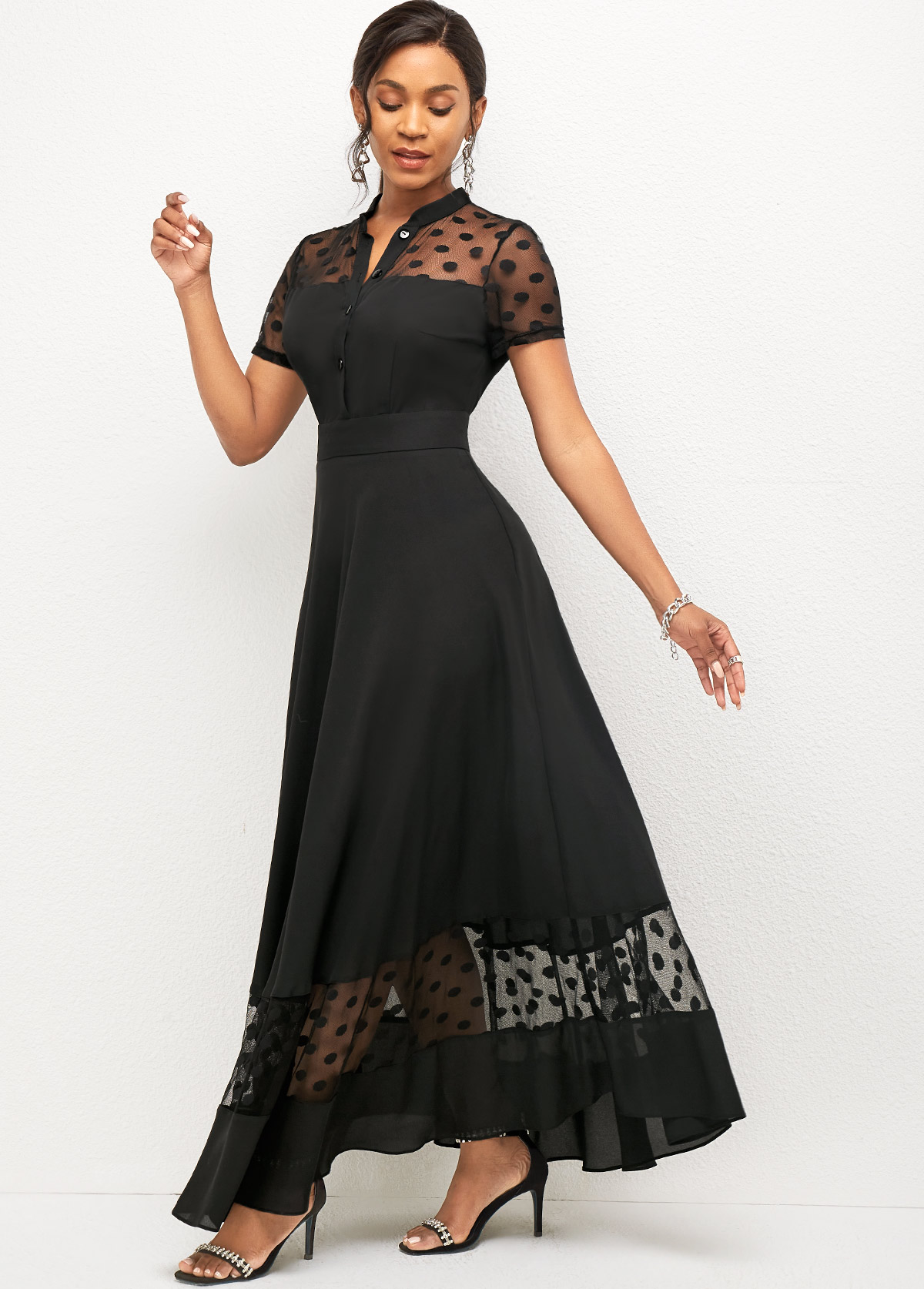 Mesh Stitching Short Sleeve Polka Dot Dress