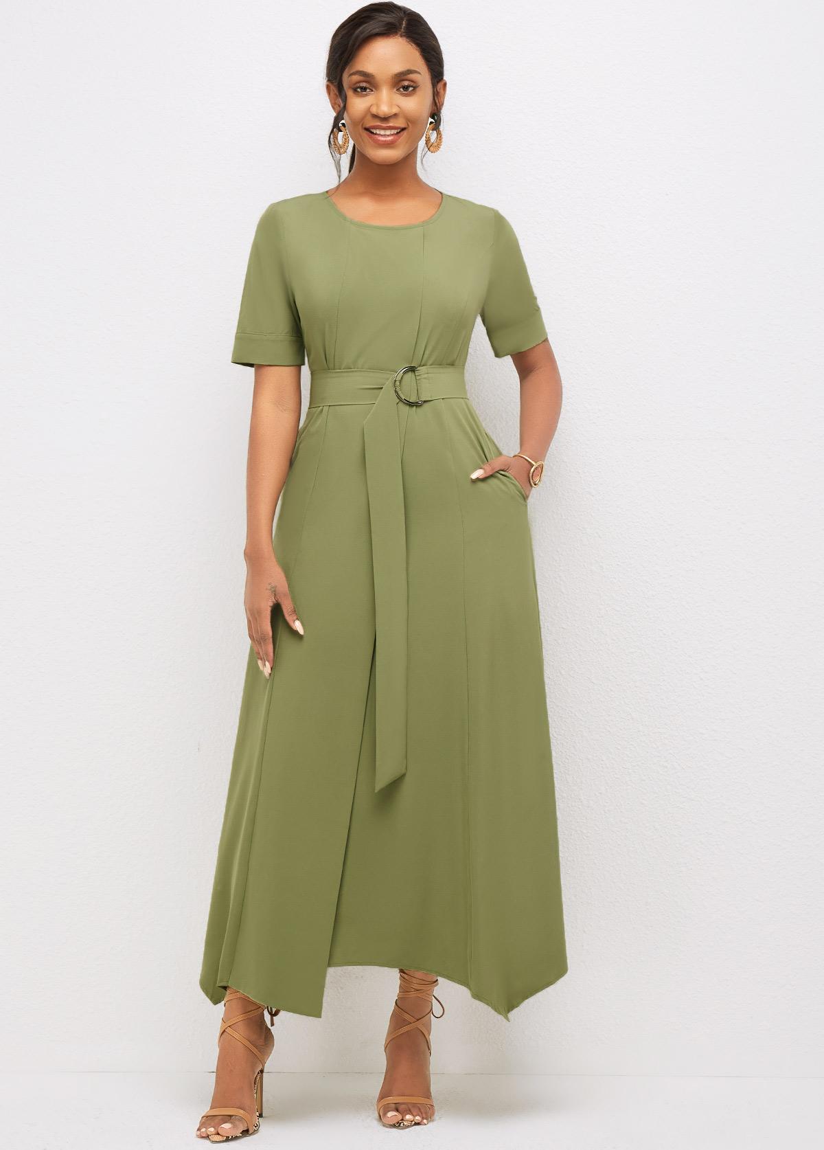 Solid Round Neck Asymmetric Hem Dress