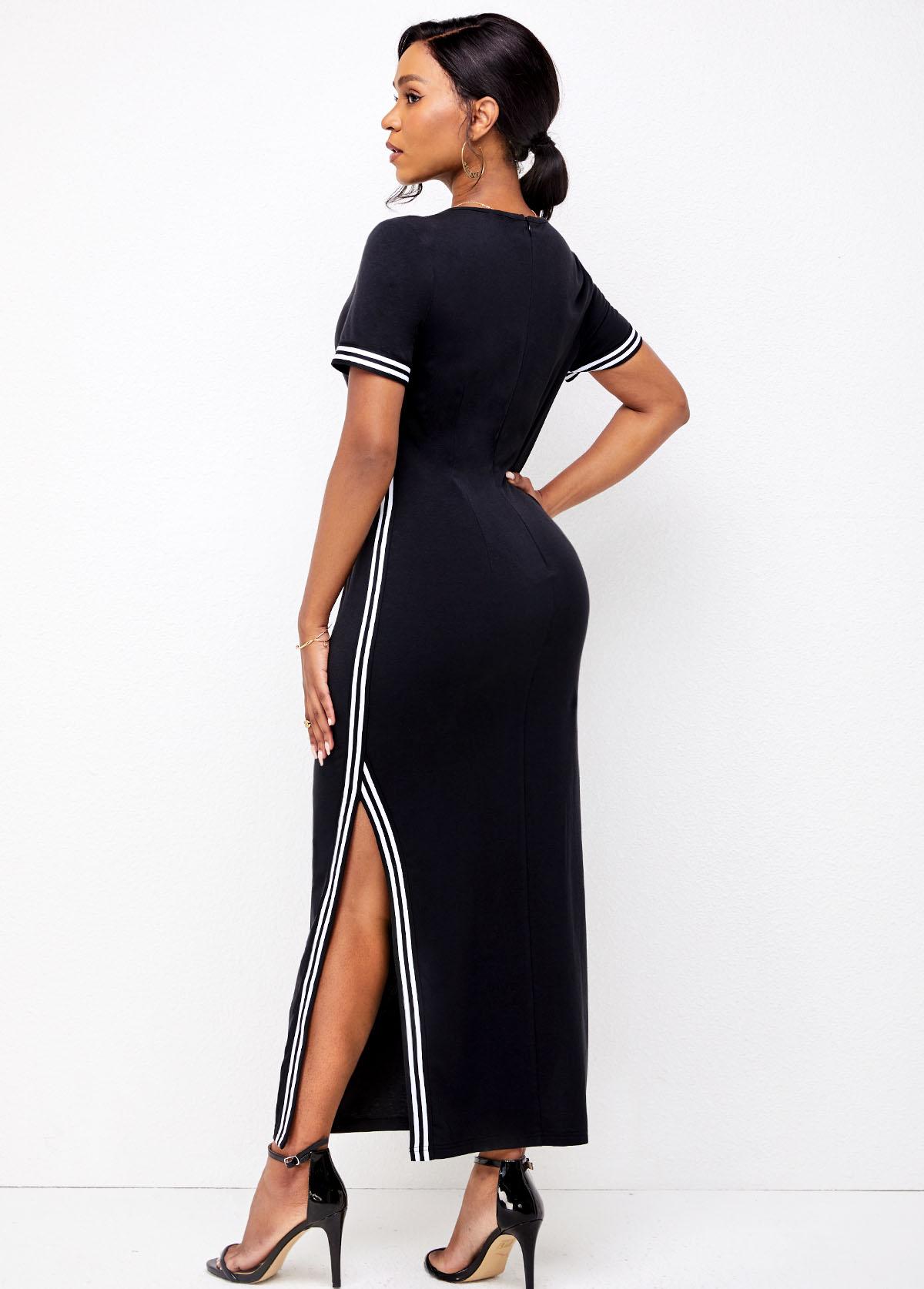 Round Neck Double Slit Striped Dress