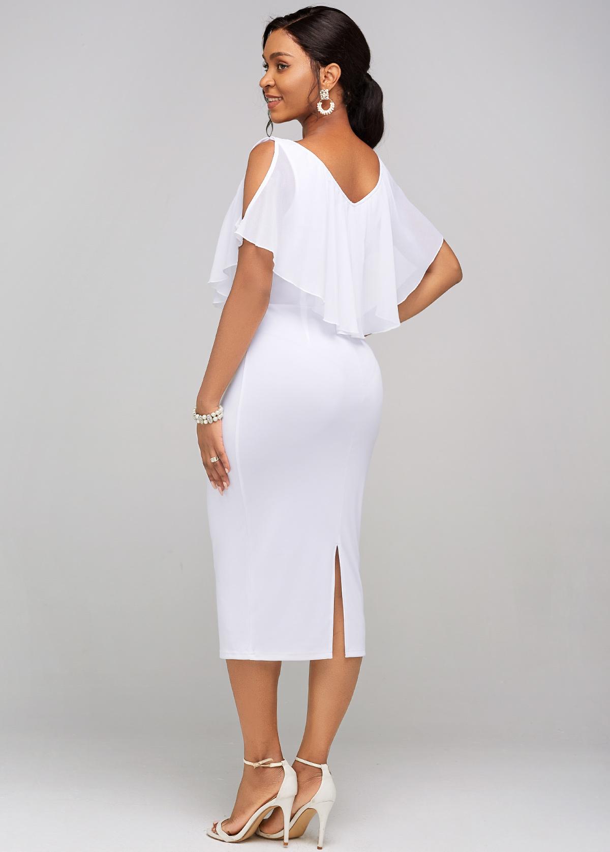 Cold Shoulder Chiffon Cape Sleeve Dress