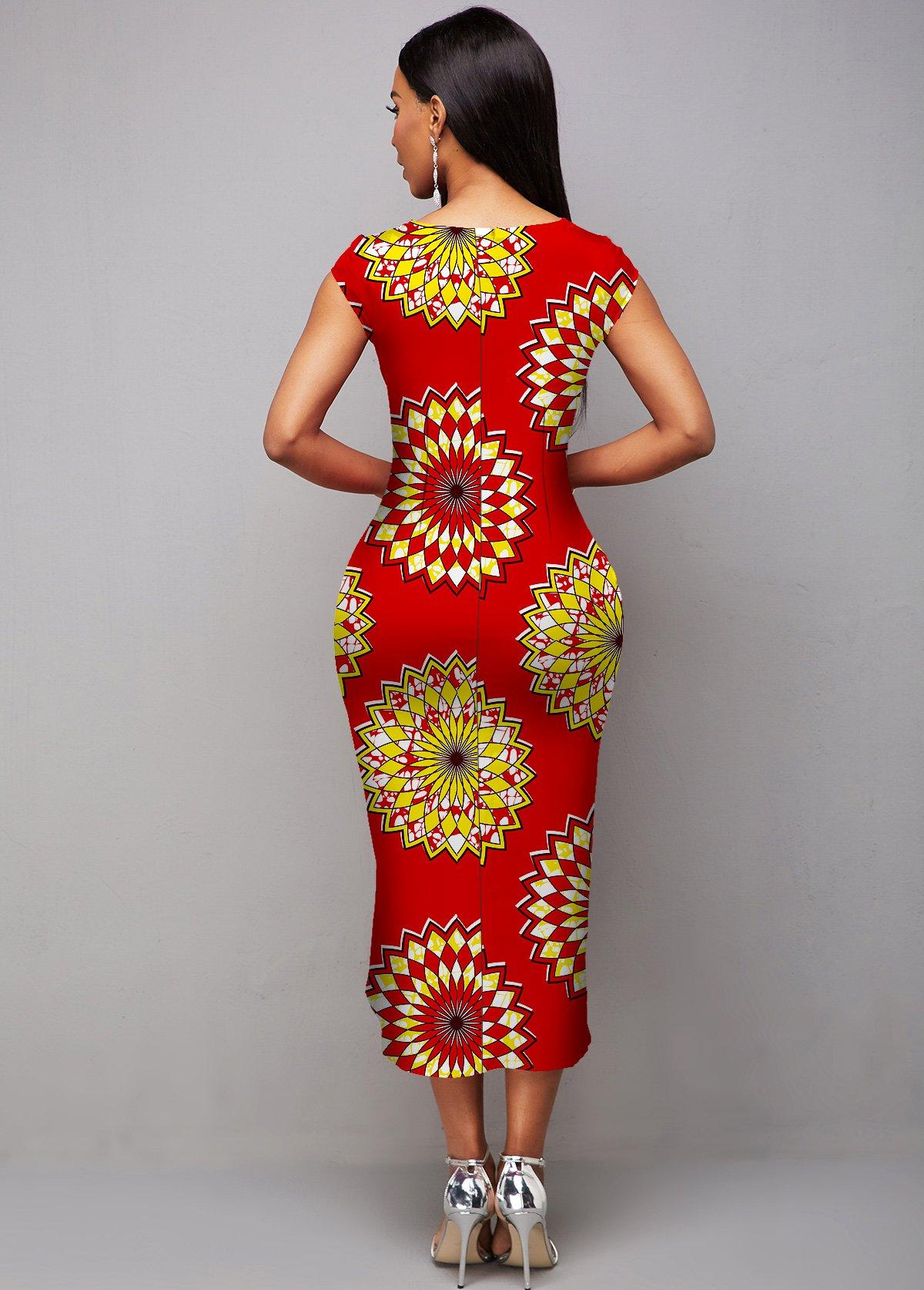 Tribal Print Asymmetric Hem Sleeveless Round Neck Dress