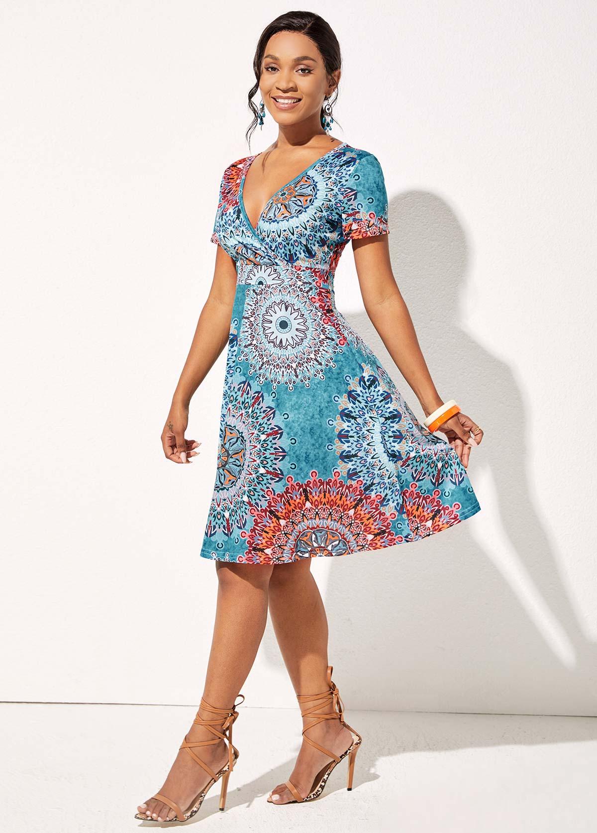 Tribal Print Short Sleeve V Neck Dress