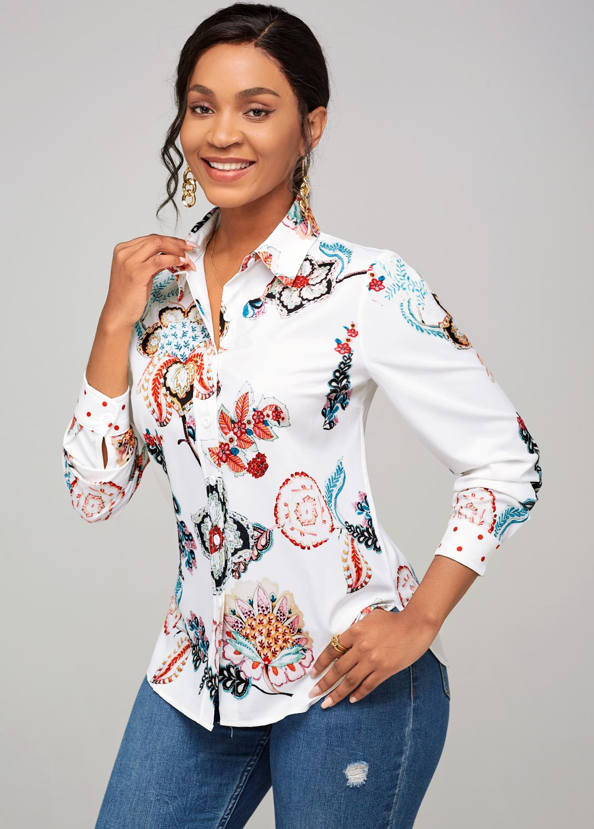 Long Sleeve Turndown Collar Floral Print Shirt