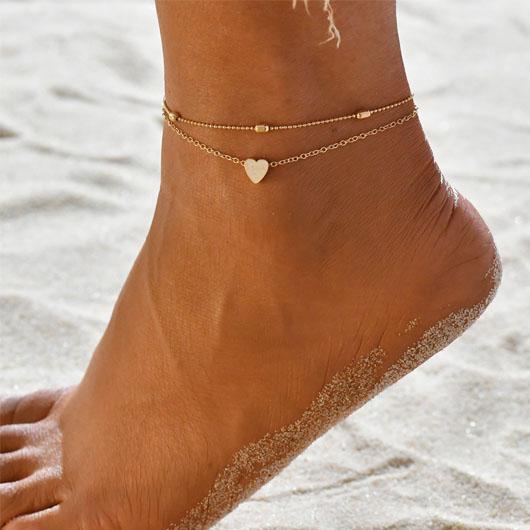 Heart Design Layered Metal Detail Gold Anklet