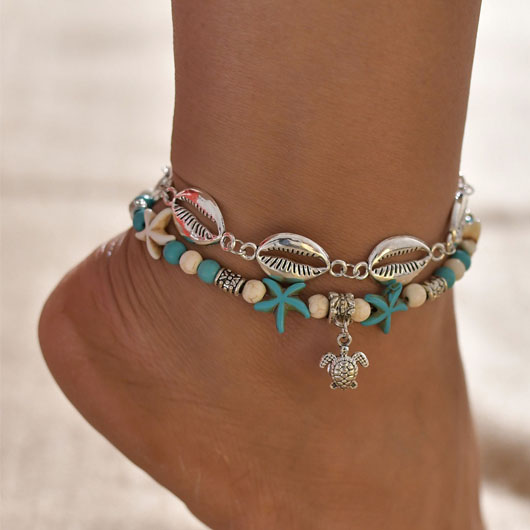 Metal Detail Layered Shell Design Anklet