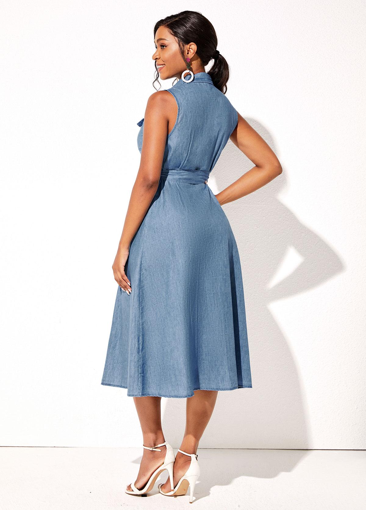 Sleeveless Turndown Collar Demin Button Up Dress