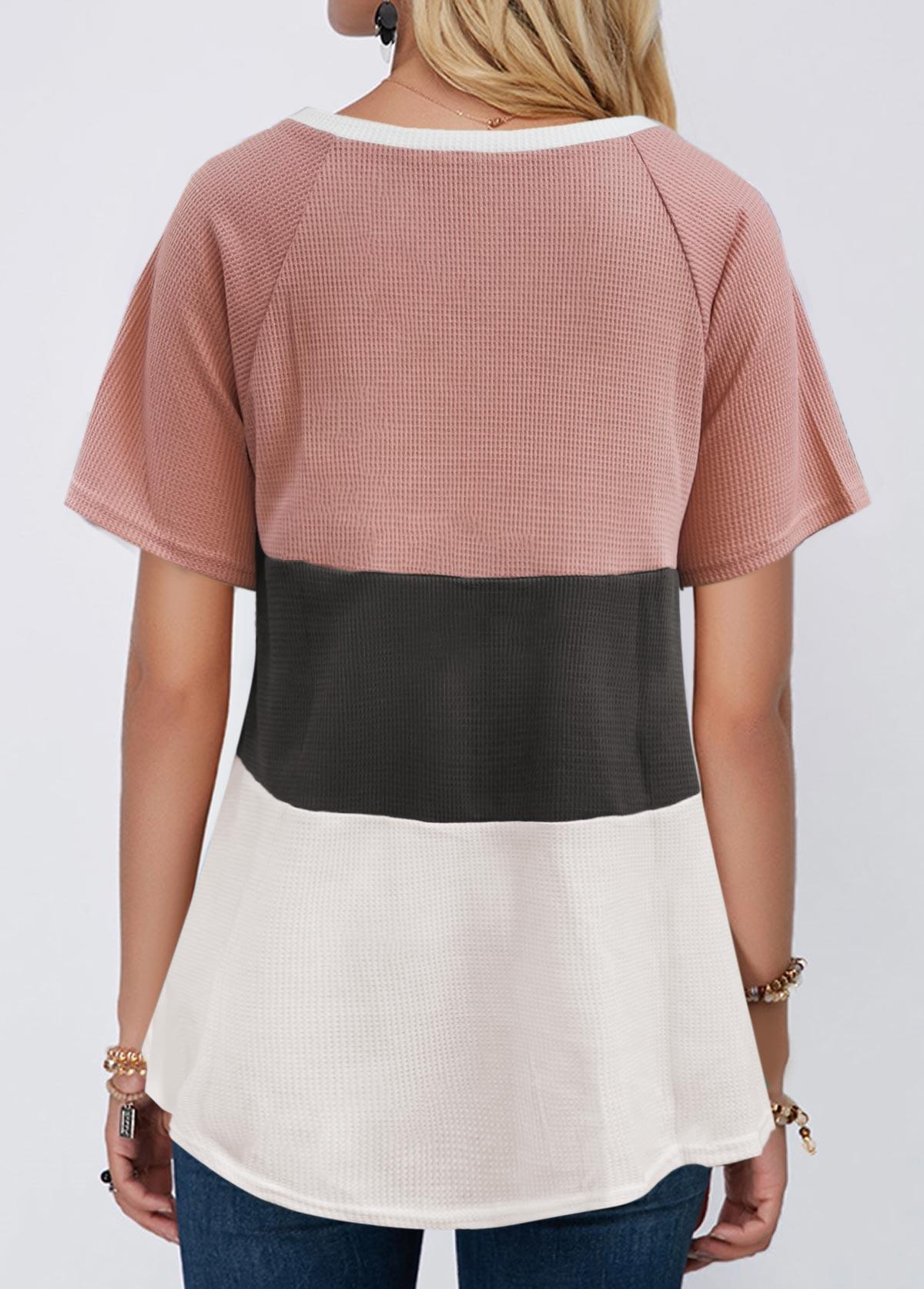 V Neck Short Sleeve Contrast T Shirt