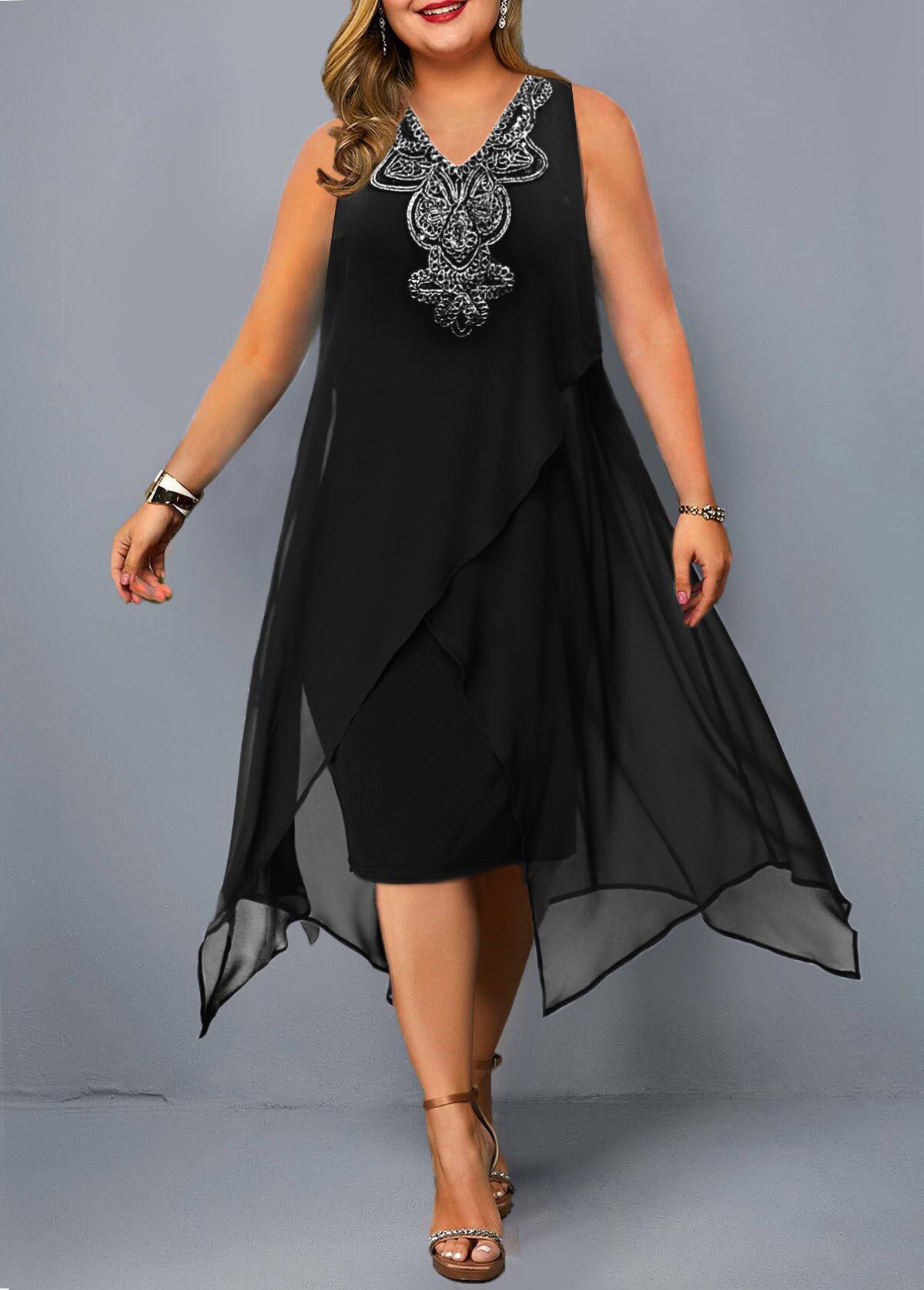 Sleeveless Plus Size Embellished Neck Dress