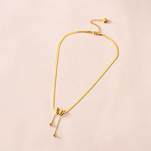 Snake Bone Chain Butterfly Design Gold Necklace