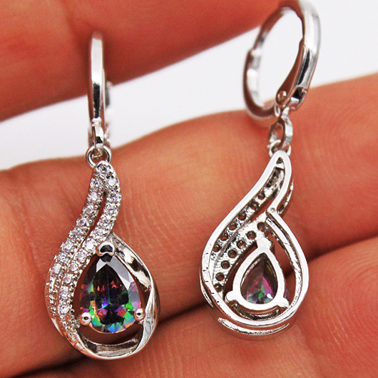 Water Drop Detail Rhinestone Silver Earring Set