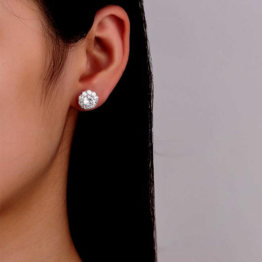 Silver Rhinestone Sunflower Design Earring Set