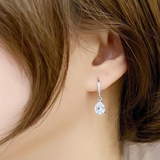 Silver Water Drop Design Rhinestone Detail Earring Set