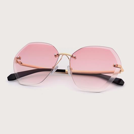 1 Pair Pink Metal Detail Rimless Sunglasses