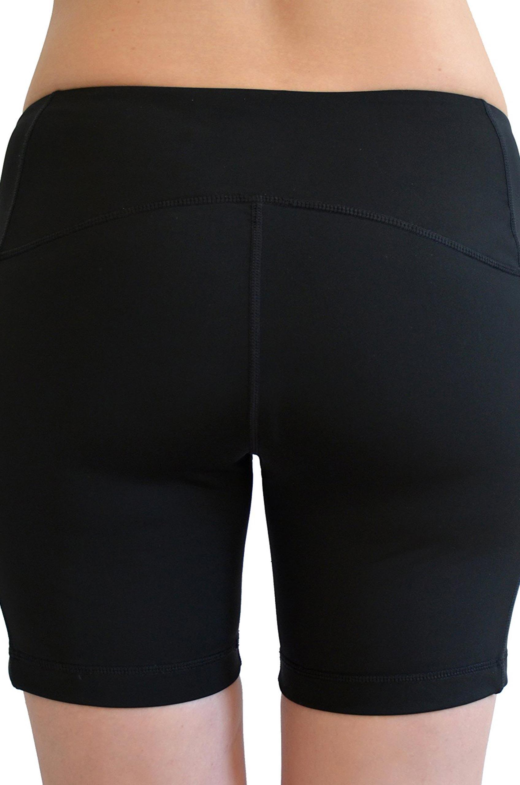 Plus Size Pocket Mid Waist Yoga Shorts