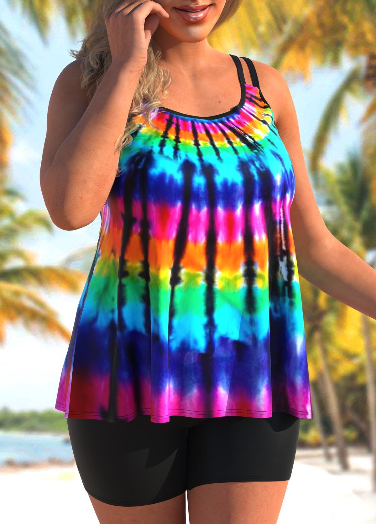 Tie Dye Print Plus Size Rainbow Color Tankini Set