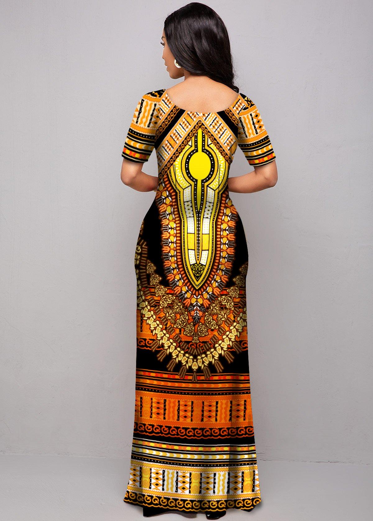 Short Sleeve Tribal Print Round Neck Dress
