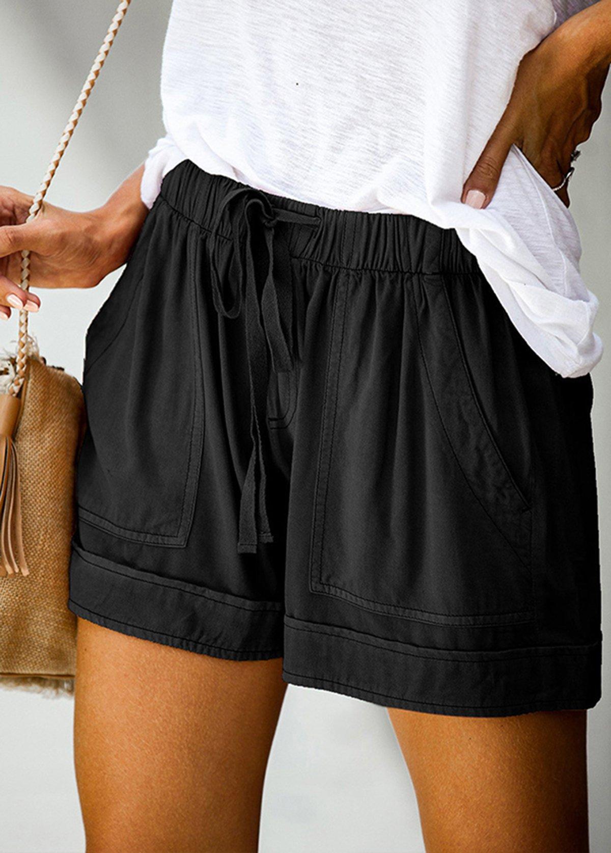 Pocket Detail Elastic Waist Solid Shorts
