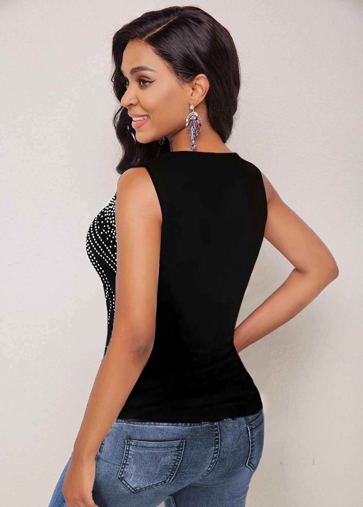Polka Dot Sleeveless Multi Straps T Shirt