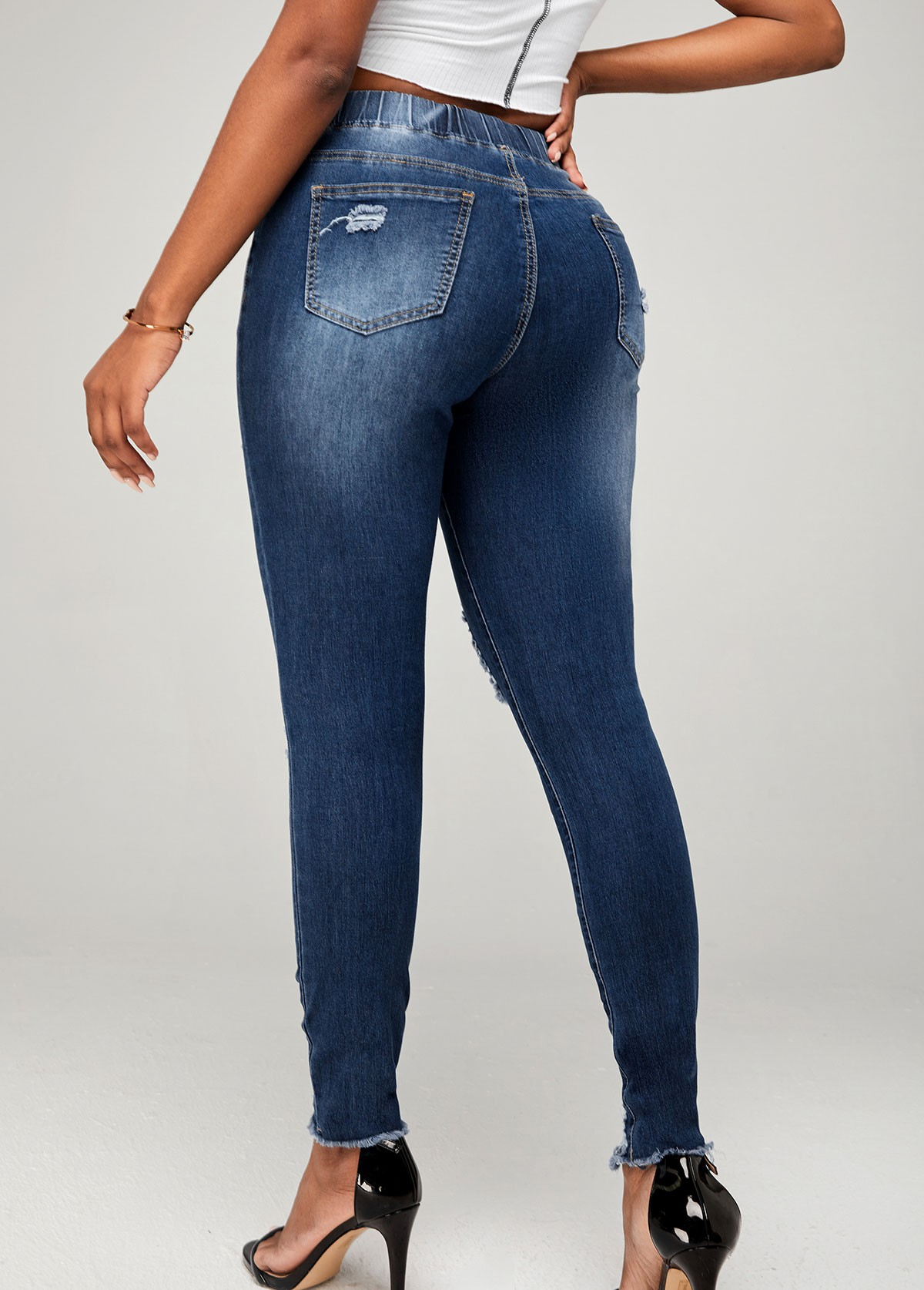 Drawstring Detail Shredded Skinny Mid Waist Jeans