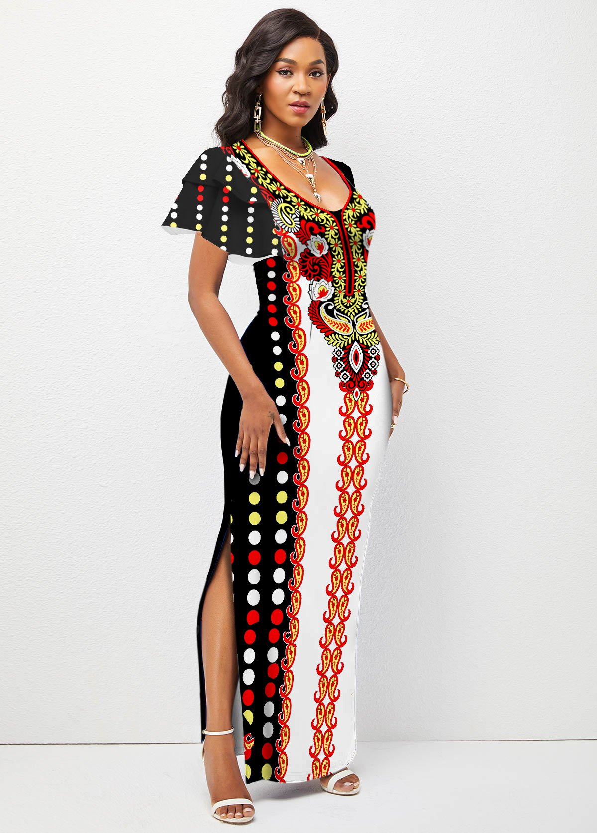 Side Slit Ruffle Sleeve Tribal Print Dress