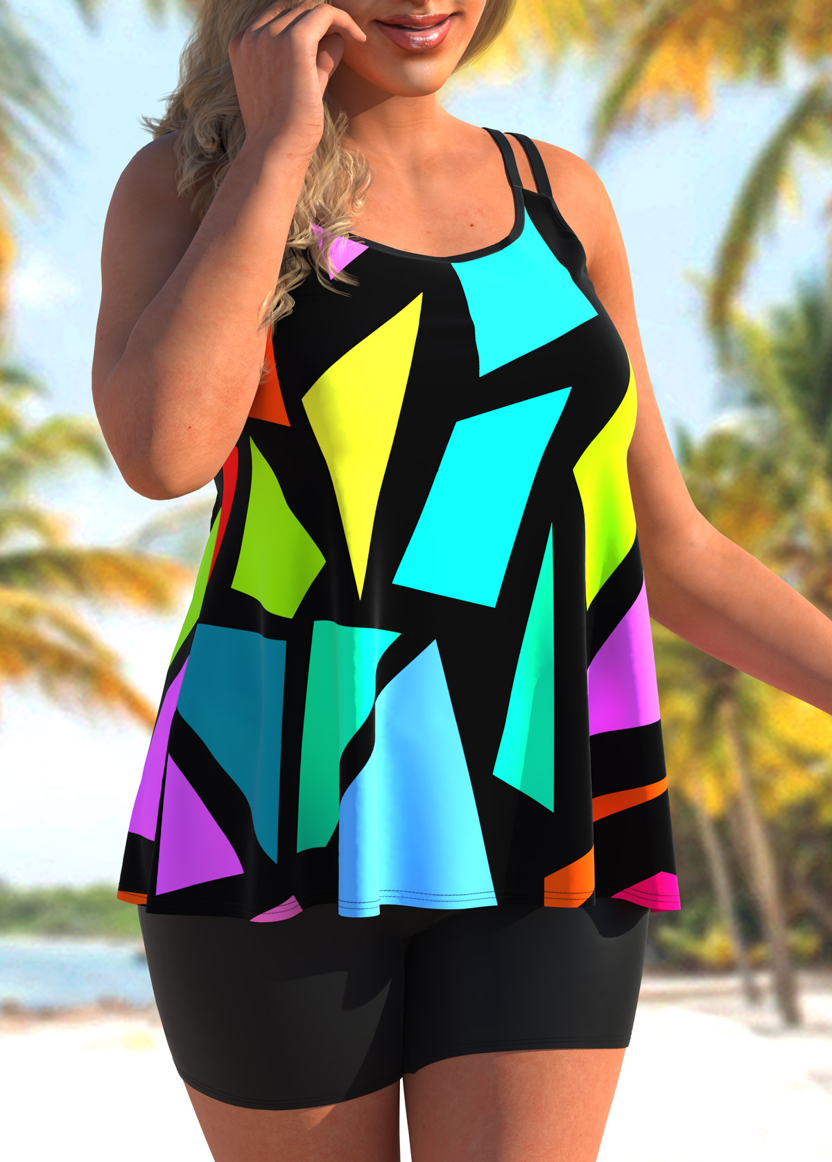 Colorful Plus Size Geometric Print Tankini Set