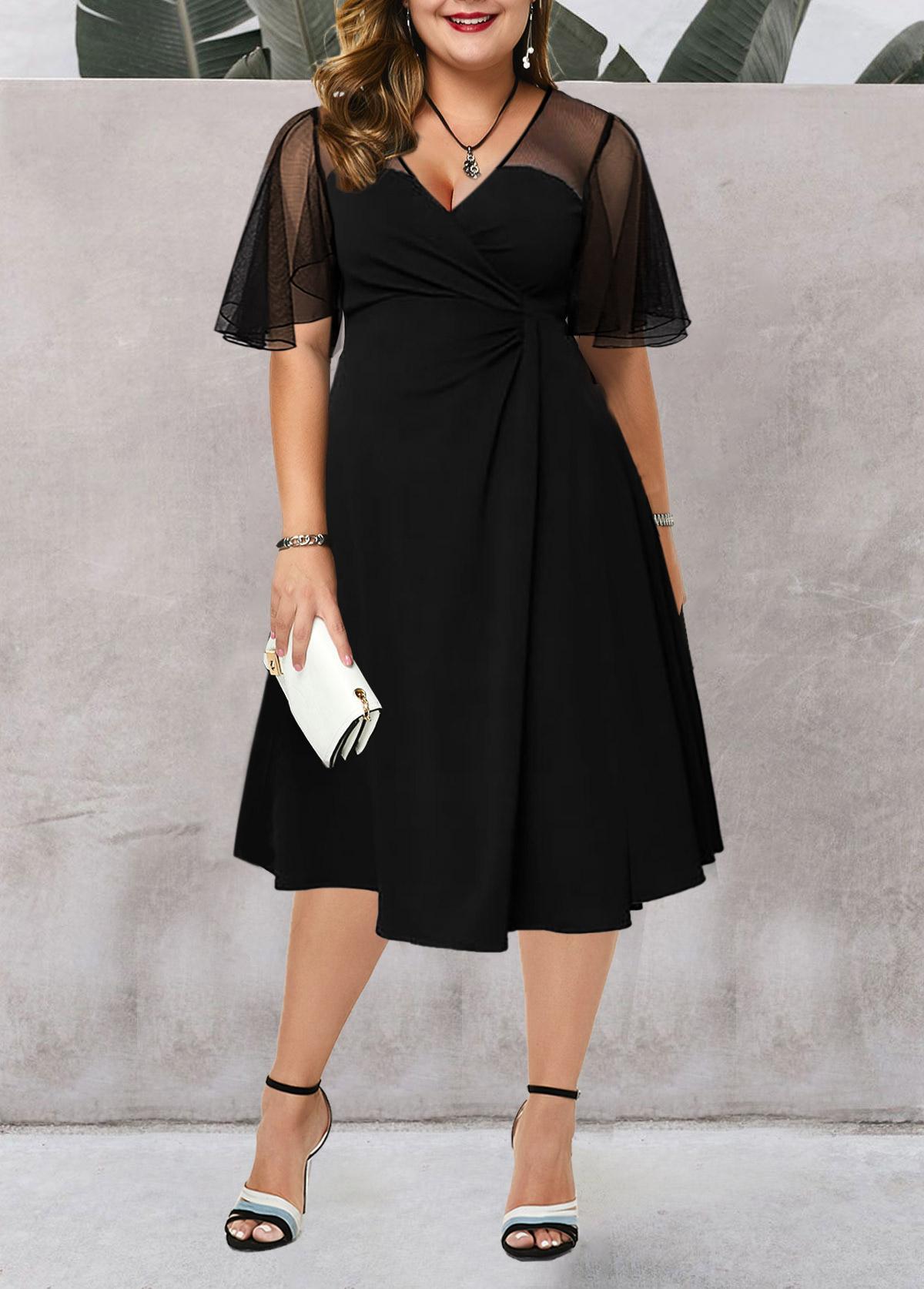 Short Sleeve Plus Size Mesh Stitching Dress