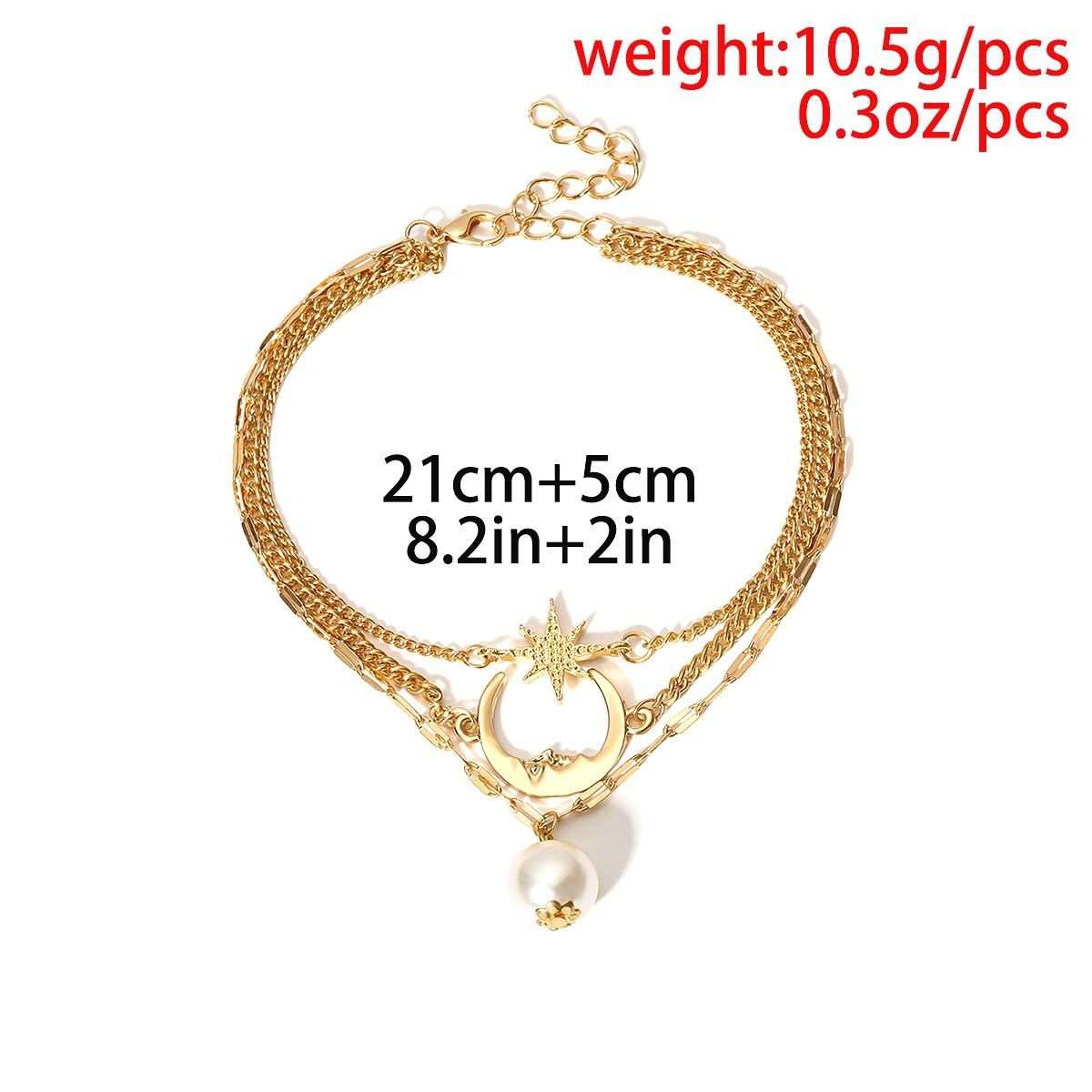 Layered Detail Gold Pearl Design Anklet