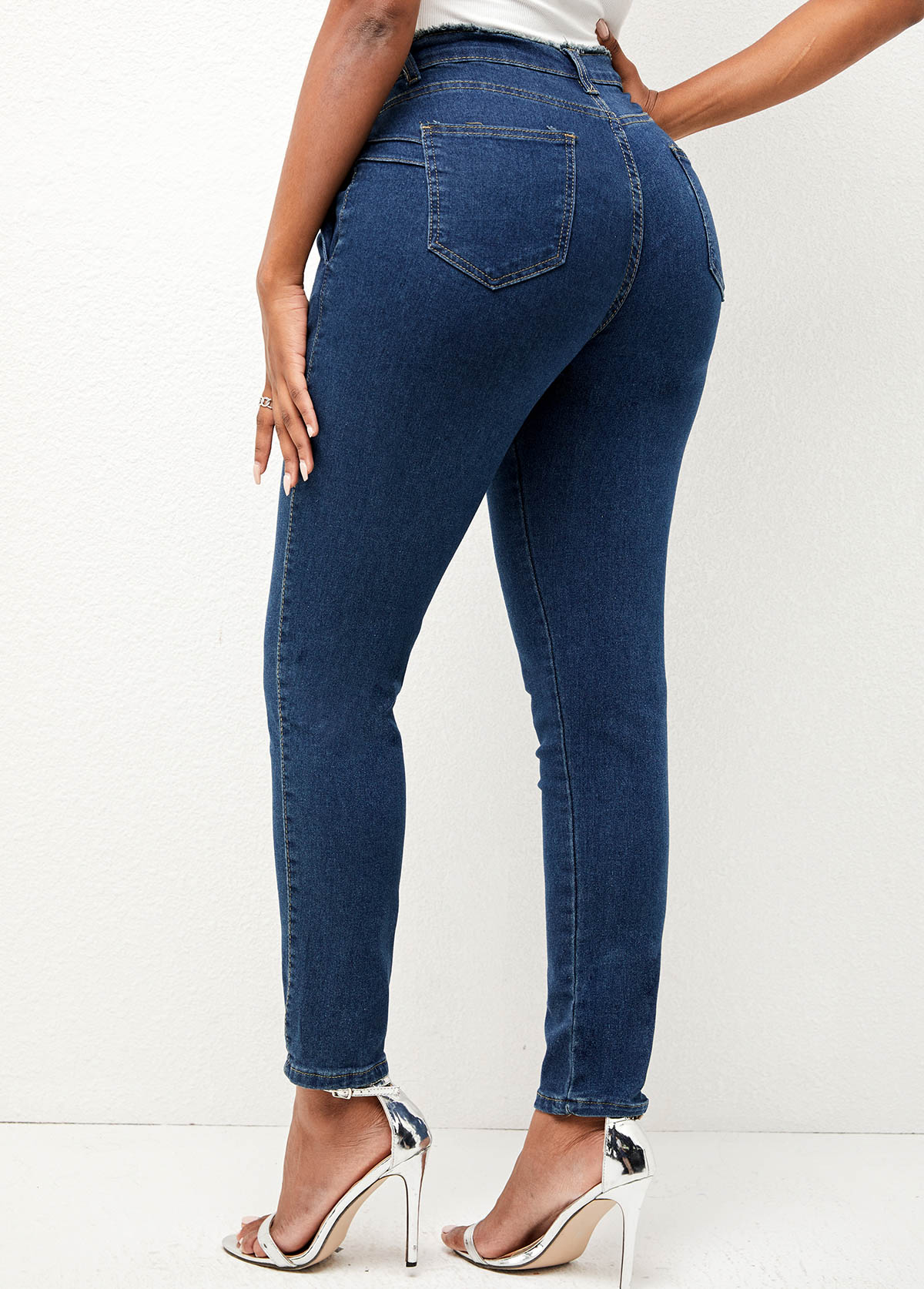 Double Pocket High Waisted Solid Jeans