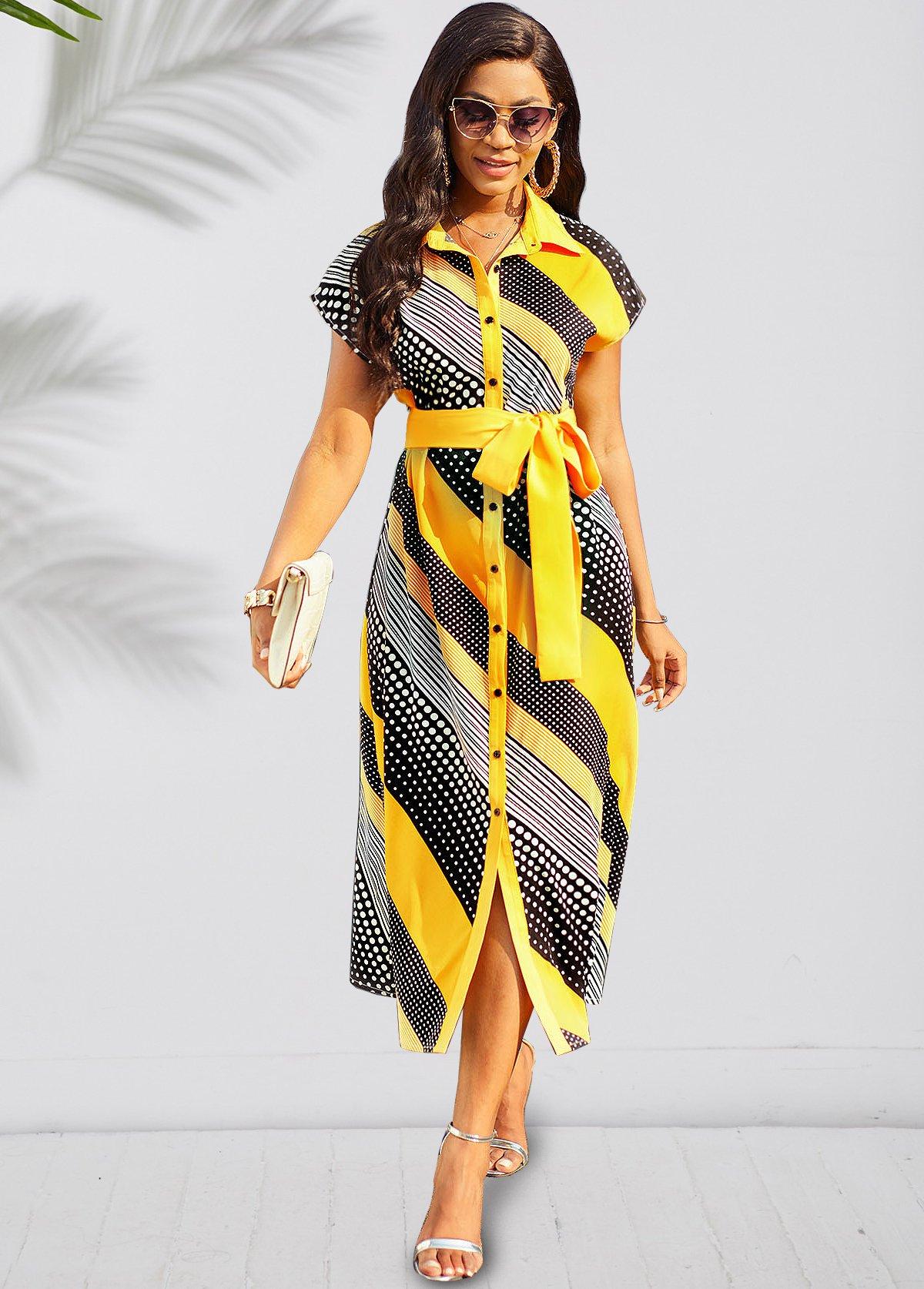 Geometric Print Belted Short Sleeve Turndown Collar Dress