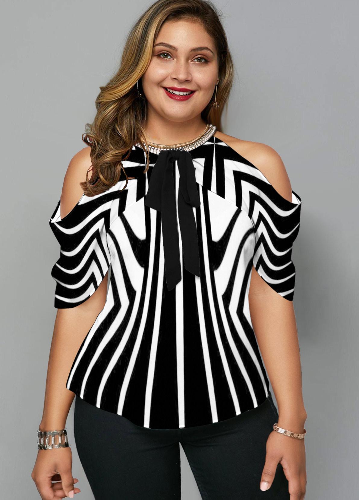 Striped Cold Shoulder Plus Size Blouse