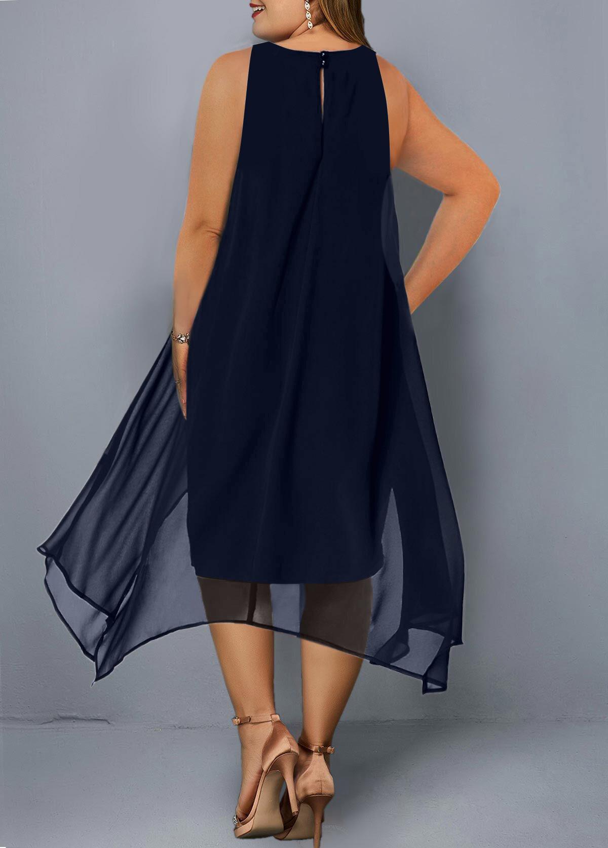 Asymmetric Hem Embellished Neck Sleeveless Plus Size Dress