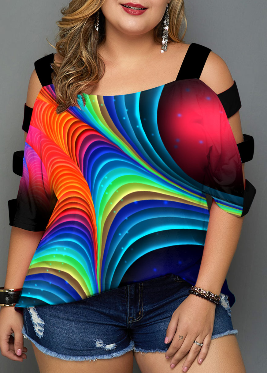 Colorful Printed Ladder Cutout Plus Size T Shirt