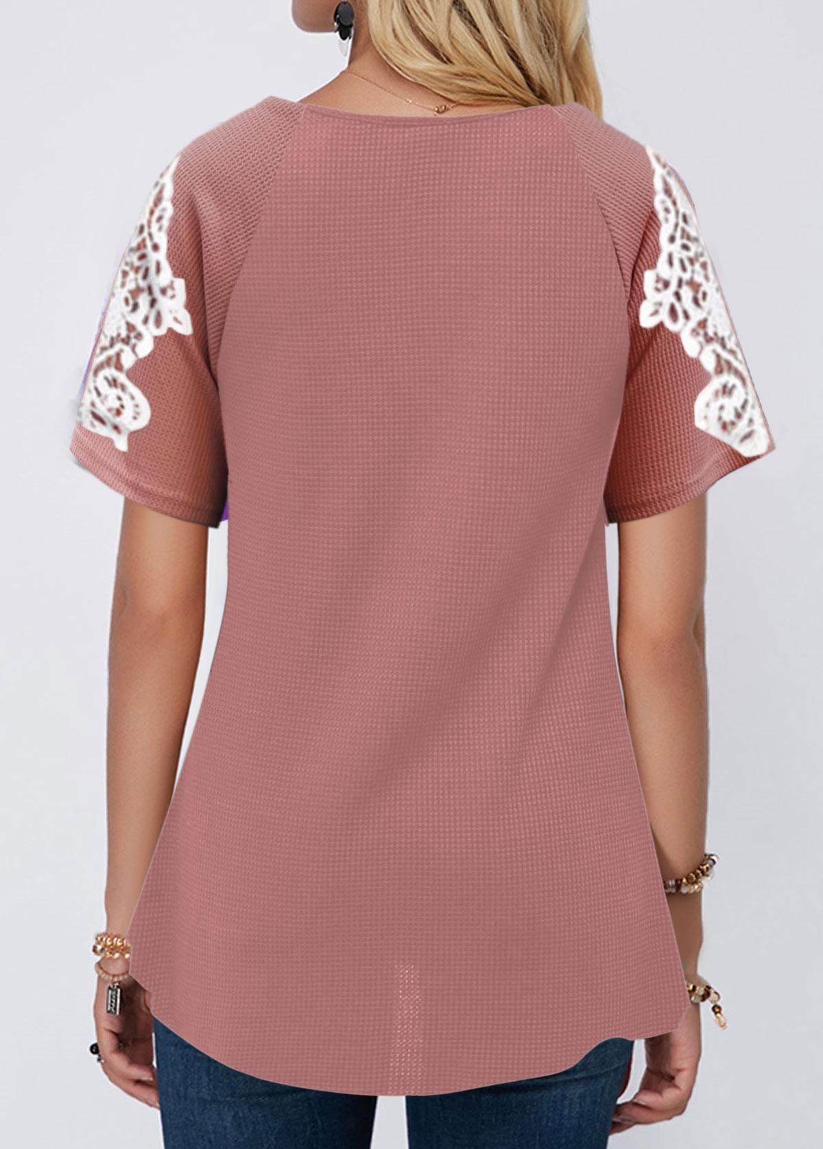 Lace Stitching Short Sleeve V Neck T Shirt