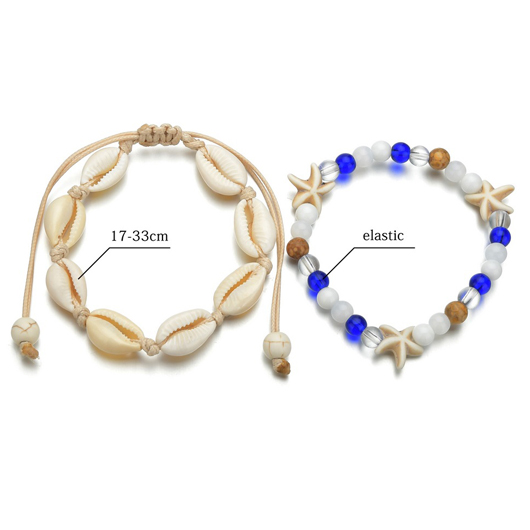 Conch and Seastar Design Metal Detail Anklets