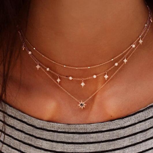 Layered Rhinestone Detail Hexagram Design Necklace