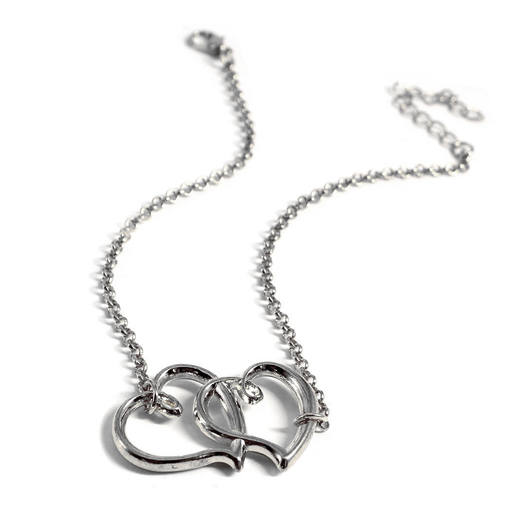 Silver Double Heart Design Metal Detail Anklet