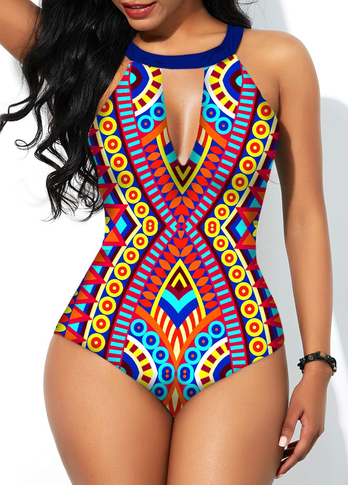 Tie Back Cutout Geometric Print One Piece Swimwear
